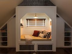 A built-in sleeping nook offers the perfect spot to curl up with a good book.