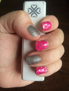"""""""Icy Pink Polka"""" and """"Diamond Dust Sparkle"""" Jamberry Nail Wraps.  Shop for over 300 designs at www.amybaldwin.jamberrynails.net  Amy Baldwin, Independent Consultant"""