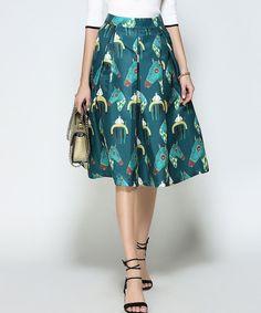 Teal Horse A-Line Skirt