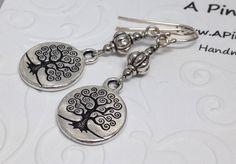 Tree of Life Coin Earrings, Engraved Tree, Celtic Tree Earrings, Tree of life Earrings,Tree Art, Mini Tree Pendants