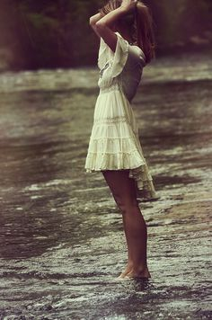 Love this pic becuz I love going to the creek and her outfit is so cute!