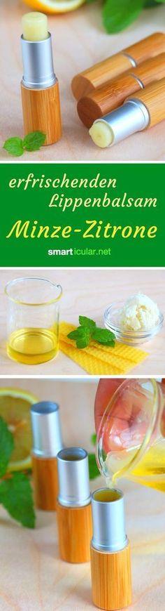 So einfach kannst du dir aus wenigen natürlichen Zutaten einen pflegenden Lippenbalsam mit Minz-Zitronen Aroma herstellen.