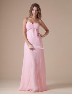 Pink Strapless Sweetheart Empire Waist Chiffon Maxi Evening Dress. This evening dress features its sweetheart and strapless design. Empire waist. Contemporary designed gown with a bit of traditional touch perfects any shapes in any kinds of ceremony. The romance pink color adds you more char.. . See More Strapless at http://www.ourgreatshop.com/Strapless-C967.aspx