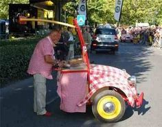 Upcycled car hot dog stand.