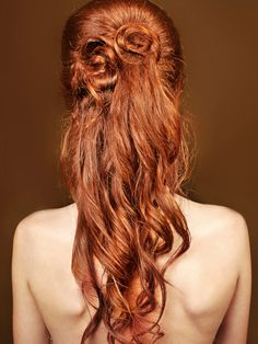 Long red locks curled and pinned at the back.   Read more at http://www.latest-hairstyles.com/long/cute-hairstyles-for-long-hair.html#lRI4XdGpdIh3lyvP.99