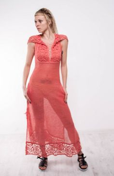 This gorgeous maxi coral dress, crocheted sundress, beachwear dress with the lacy biggin  is knitted of linen yarn. It's tremendous! Very mod,comfortable ,and chic! This swanky dress can be worn to an