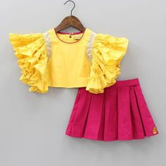 Pre Order: Yellow Frilly Top With Pleated Pink Skirt Frocks For Girls, Dresses Kids Girl, Kids Outfits, Baby Girl Frocks, Kids Frocks Design, Baby Frocks Designs, Baby Dress Design, Frock Design, Kids Dress Wear