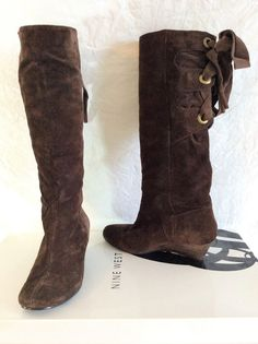 369d6f097918 Nine West Dark Brown Suede Truella Lace Up Ribbon Knee High Wedge Boots 6 5M