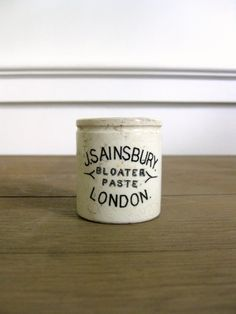 Antique English Pot, Sainsbury's Bloater Paste, London, Advertising Crock, Stoneware. Antique English Pot Sainsbury's Bloater Paste from River House Designs. By the way, bloater paste is made from bloater fish. It has a strong flavor, like anchovy paste, and might be used as a sandwich filling or to season other dishes.