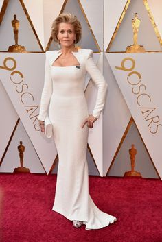 Jane Fonda in custom Balmain, Salvatore Ferragamo shoes, Chopard jewelry, and with a Perrin bag -- Oscars 2018