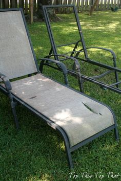 Recover Your old Chaise Lounge Chairs is part of Patio chairs - learn how to recover your old chaise lounge chairs instead of throwing them out Quick, inexpensive solution instead of buying brand new chairs Outdoor Furniture Chairs, Lawn Furniture, Furniture Redo, Furniture Repair, Backyard Furniture, Furniture Refinishing, Furniture Layout, Antique Furniture, Modern Furniture