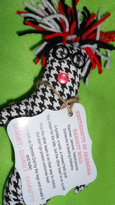 University of Alabama Dammit Doll dressed in houndstooth.... by tobeesgifts on Etsy, $18.95
