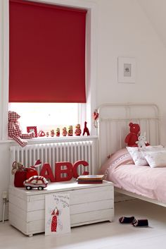 Bright colour can add a wonderful bit of fun to a child's room. Add it in block plains and patterns in accessories and soft furnishing within a neutrally decorated room for full impact! Made to measure red blackout Roller blinds are perfect for this. Pantone 2016, Red Interiors, Roller Blinds, Blinds For Windows, Color Rosa, Soft Furnishings, Valance Curtains, Color Blocking, Kids Room