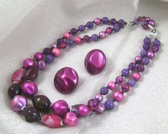 Vintage Purple Necklace Purple and Pink Glass and by waalaa