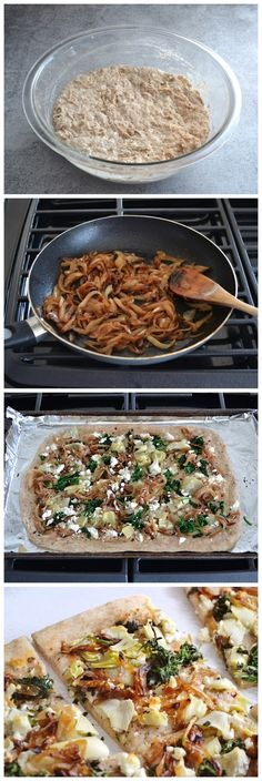 Caramelized Onion and Artichoke Flatbread  (kalamata olives, feta cheese?)