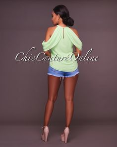 Chic Couture Online - Lorene Mint Green Cold Shoulder Top,  (http://www.chiccoutureonline.com/lorene-mint-green-cold-shoulder-top/)