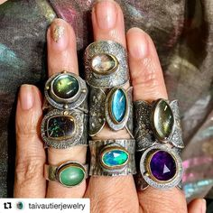 Oh my my my.... #ooakartisans ... #Repost @taivautierjewelry (@get_repost)  Juicy colors of all kinds! Diversity is beautiful!! Silver gold and mixed stones. #mixedmetaljewelry #bigrings #taivautierjewelry #fusedsilverandgoldrings #boulderopalring #labradoritering