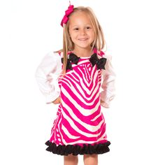 Lolly Wolly Doodle Hot Pink Zebra Black Ruffle Aline