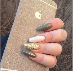 Army Green nail polish with gold on ring finger. #fallnailpolish