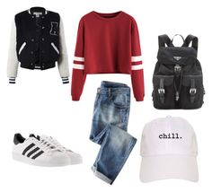 """""""Normal School Day"""" by marmarrod ❤ liked on Polyvore featuring Sans Souci, Prada and adidas"""
