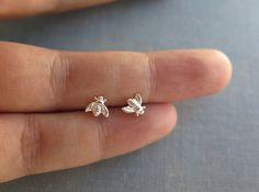 $20.00 Small honey bee stud earrings in sterling silver. Everyday wear simple and cute silver stud earrings made with sterling silver bees soldered on a