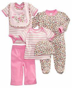 Cutie Pie Baby Set, Baby Girls 6-Piece Hanger Set with Bib, Bodysuit, Coverall, Pants, Hat and Tee