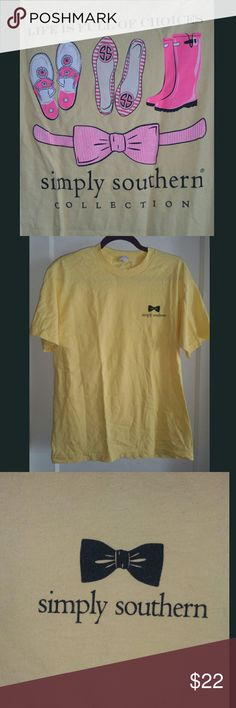 NWOT Simply Southern Short Sleeve T-Shirt Never worn! Yellow shirt w/ black SS & bow on front. Really cute back w/ neon pink! Simply Southern Tops Tees - Short Sleeve