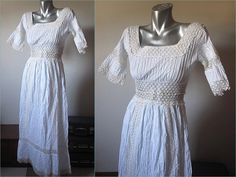 Vintage 60s White Cotton Maxi Dress with 3/4 Length by retrovous