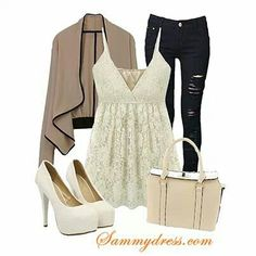 Cute neutral outfit with lace top! Tan Jeans, Jeans Fit, Autumn Fashion 2018, Neutral Outfit, White Casual, Dress To Impress, What To Wear, Fashion Dresses, Women Wear