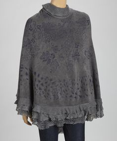 Take a look at this Gray & Blue Tiered Ruffle Poncho by SR Fashions on #zulily today!