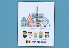 Belgium icons (big version) - Mini people around the world cross stitch pattern