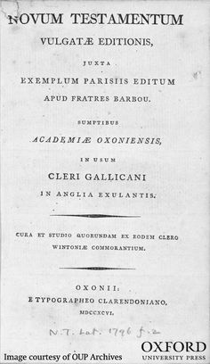 """How did Oxford University Press respond to Napoleon and the French Revolution? """"With a very uncharacteristic publication."""" (Image: Novum Testamentum Vulgate Editions. Courtesy of the OUP Archives. Please always credit original) #OUParchives #FrenchRevolution #Napoleon #history"""