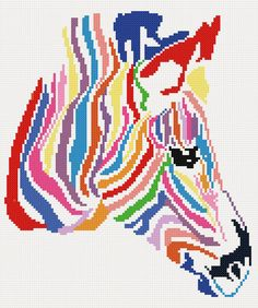 Rainbow zebra - modern counted cross stitch kit   #