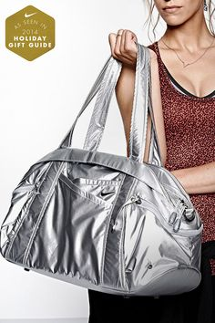 Cool gear deserves a cool bag. Convenient storage and versatile style. Pack all your studio essentials in the Nike Victory Gym Club Metallic Duffel Bag.