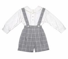 Luli & Me Baby / Toddler Boys Grey Glen Plaid Suspender Shorts with Shirt
