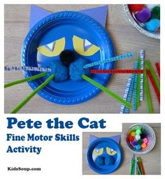 Use this colorful Pete the Cat activity to help sharpen your preschool and kindergarten students' fine motor, oral language, and math skills. It also makes a great prop while rereading Pete the Cat during story time. by annmarie Motor Skills Activities, Preschool Activities, Math Skills, Preschool Books, Preschool Crafts, Preschool Family, Cat Crafts, Book Crafts, 7 Arts