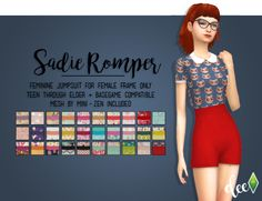 """deetron-sims: """" This romper by @mini-zen is too freaking cute so I had to put my own spin on it. I also did a few housekeeping things to the mesh so it includes all proper LODs and texture files. Thanks @mini-zen for the super cute mesh! DOWNLOAD AT..."""