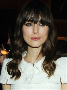 Keira Knightley Long Curly Hairstyle with Bangs