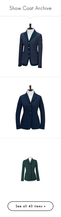 """Show Coat Archive"" by equestrianartist ❤ liked on Polyvore featuring outerwear, coats, jackets, show coat, blue coat, pinstripe coat, plaid coat, horse coat, tartan coats and show jackets"