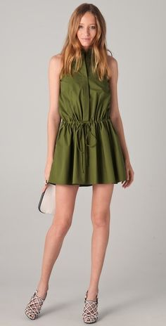 "Shopbop...10 Crosby Derek Lam...Sleeveless Drawstring Shirtdress...Colour=Olive...98% Cotton...34"" Long...Classic and Rich"
