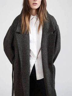 dark gray wool trench coat + button up white blouse