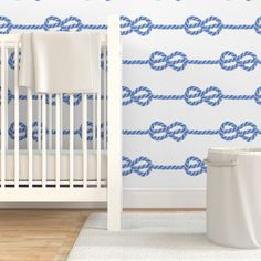 Removable Wallpaper Swatch - Pastel Blue Nautical Rope Rows Selfknots White Custom Pre-pasted Wallpaper by Spoonflower