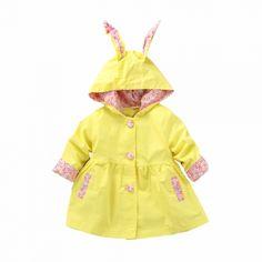 Toddler rain coat yellow floral bunny ADORABLE!