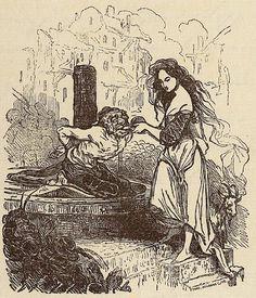Tony Johannot. Esmeralda and Quasimodo. A cover drawing of a French edition