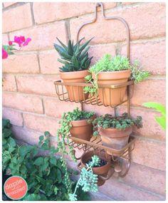 Des étagères de douche pour suspendre les pots de fleurs.  14 Astuces pour le jardin à faire avec des objets de récup