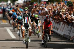 Peter Sagan of Slovakia and Team Cannondale Pro Cycling crosses the finish line to win stage one of the USA Pro Cycling Challenge on August 19, 2013 in Aspen, Colorado. (Photo by Chris Graythen/Getty Images)