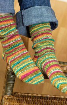 Self-Striping Knit Socks Free Pattern from Red Heart Yarns