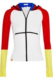 Color-block stretch-jersey hooded jacket