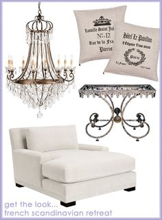 Clockwise from top left: Currey & Company Large Lillian August Scarlet Chandelier, French Paris No. 12 Linen Pillow, Hotel Le Pavillon Linen Pillow, French Pastry Iron Table Base, Layla Grayce Oakland TV Lounger    board2