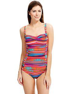 90b58d58c4 Red Mix Secret Slimming™ Longer Length Striped Swimsuit Beachwear For  Women, Women Swimsuits,